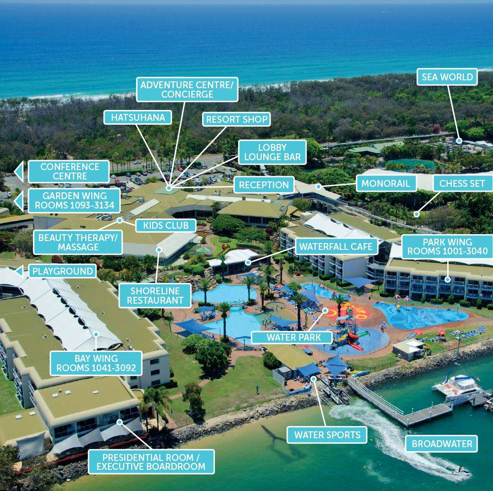 Resort map and directions sea world resort gold coast gumiabroncs Choice Image